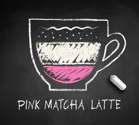 Vector sketch of Pink Matcha Latte