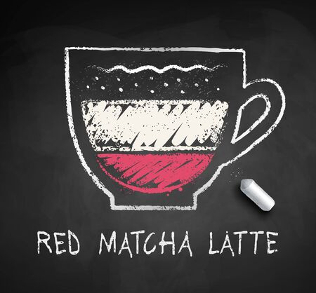 Vector sketch of Red Matcha Latte