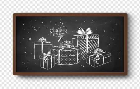 Vector illustration of chalk drawn gift boxes
