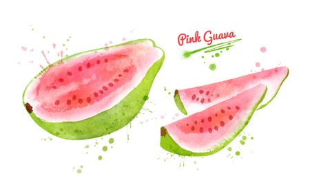 Half and pieces of Pink Guava fruit