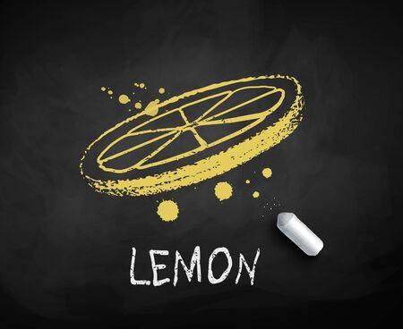 Chalk drawn sketch of lemon slice Çizim