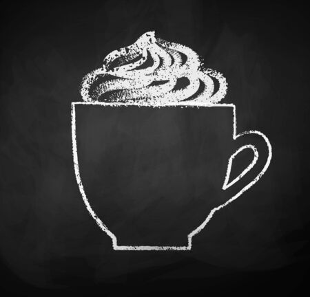 Chalk sketch of cup with whipped cream
