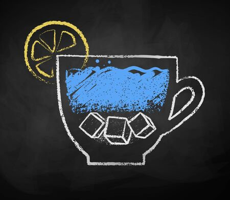 Chalk drawn sketch of cup of iced water