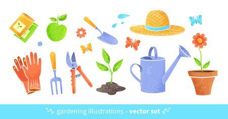 Gardening equipment vector set