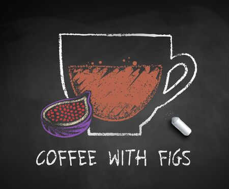 Vector chalked sketch of coffee with Figs