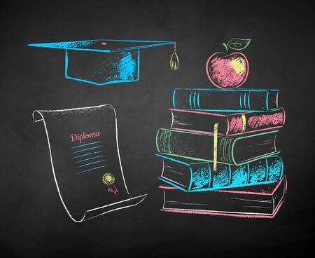 Vektorfarbkreide gezeichnete Illustrationen von Mörtelbrett, Diplomrolle und Apfel auf Büchern auf schwarzem Tafelhintergrund.