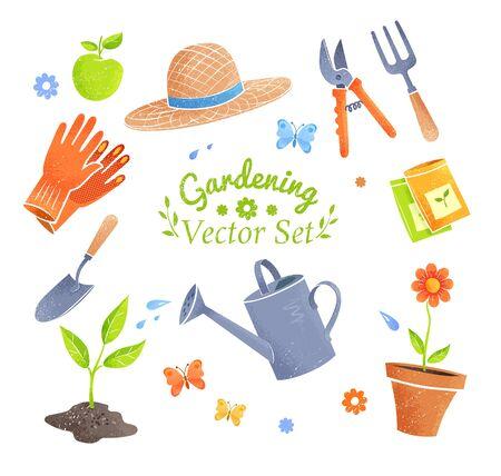 Vektorillustrationssammlung Gartenarbeiteinzelteile lokalisiert auf weißem Hintergrund. Vektorgrafik