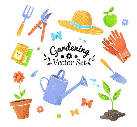Collection of vector icons of gardening items isolated on white background. Illustration