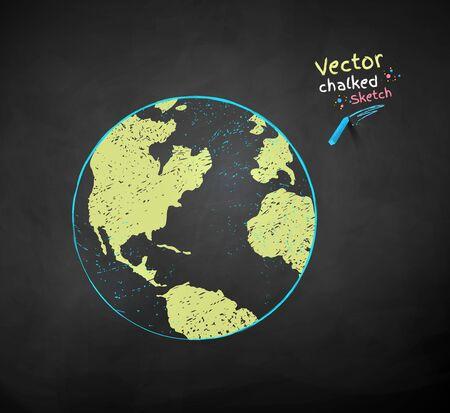 Vector color chalk drawn Earth globe Banco de Imagens
