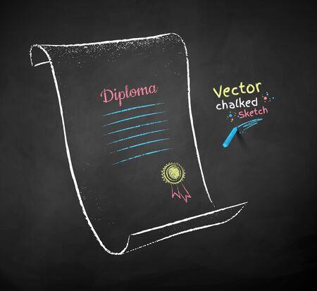 Chalk drawn illustration of diploma scroll Banco de Imagens