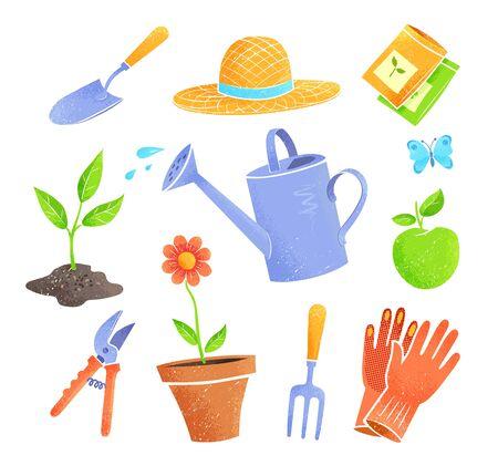 Set of vector icons of gardening items Ilustração