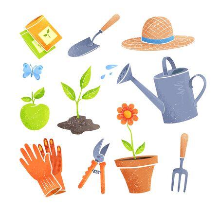 Gardening items vector illustrations