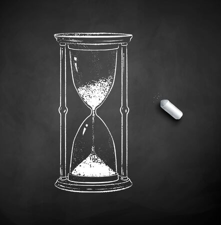 Vector black and white chalk drawn illustration of hourglass with piece of chalk on black chalkboard background.