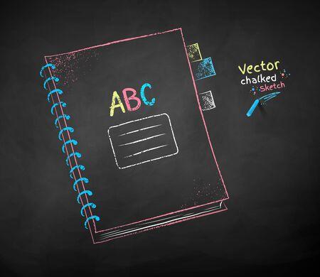 Vector color chalk drawing of school notebook on black chalkboard background. Ilustração
