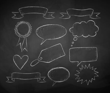 Vector collection of black and white chalk drawing of speech bubbles and banners on black chalkboard background. Ilustração