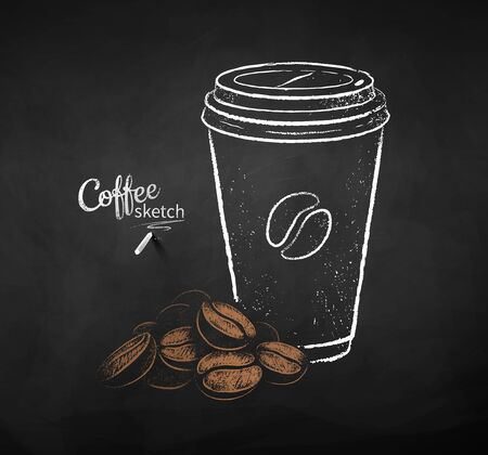 Set of coffee paper cup with pile of beans