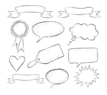 Grunge hand drawn speech bubbles