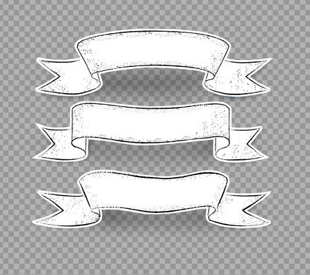 Grunge hand drawn ribbon banners Ilustração