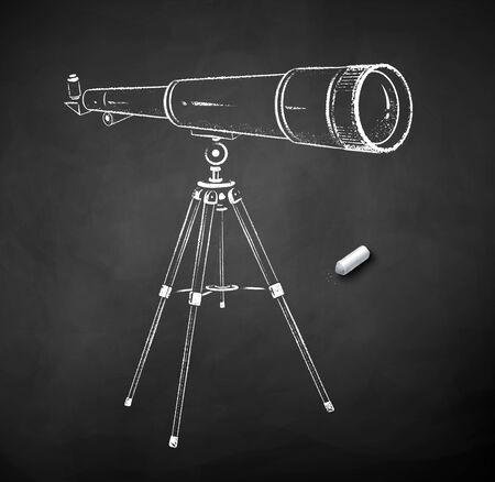 Chalk drawn illustration of telescope