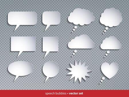 Vector set of paper style speech bubbles