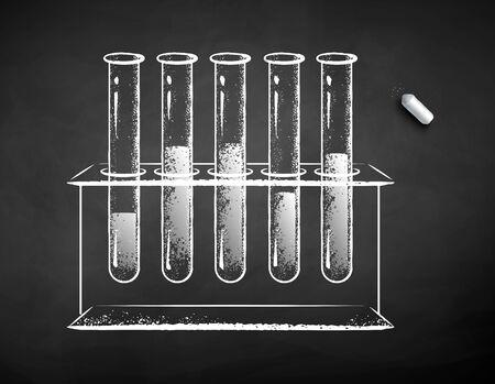 Chalk drawn illustration of chemical flask