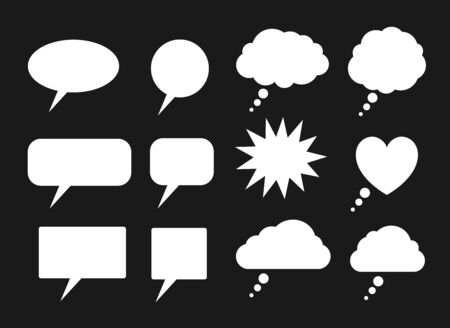 Vector set of white speech bubbles silhouettes isolated on black background.