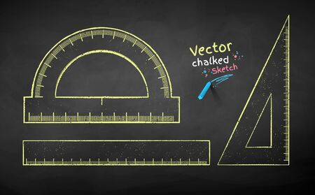 Vector color chalk drawn illustration collection of rulers on chalkboard background.
