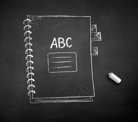 Vector black and white chalked illustration of school spiral notebook with piece of chalk on black chalkboard background. Ilustração
