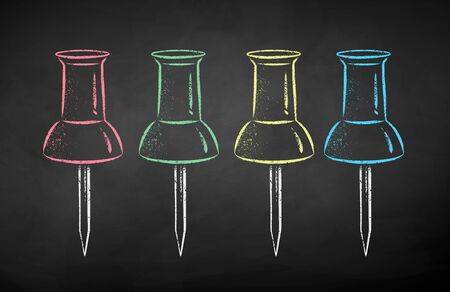 Vector color chalk drawn illustration collection of push pins on chalkboard background.