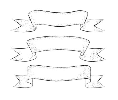 Vector collection of grunge line art hand drawn ribbon banners isolated on white background.