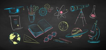 Chalk drawn illustration set of science objects