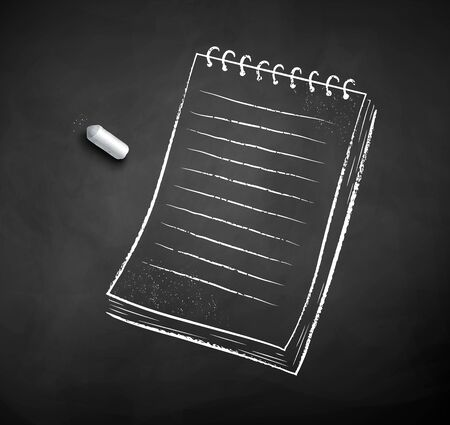 Vector black and white chalked illustration of notepad with piece of chalk on black chalkboard background.