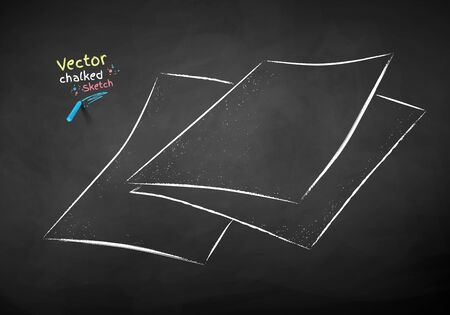 Vector color chalk drawn illustration collection of sheets of paper on chalkboard background.