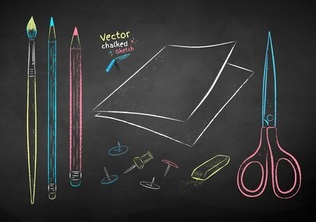 Vector color chalk drawn illustration collection of drawing items on chalkboard background. Illustration