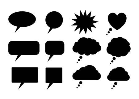 Black speech bubbles silhouettes Ilustração