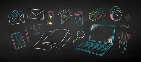 Chalk drawn illustration set of office supplies