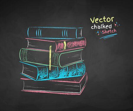 Vector color chalk drawn illustration of pile of books on black chalkboard background. Ilustração