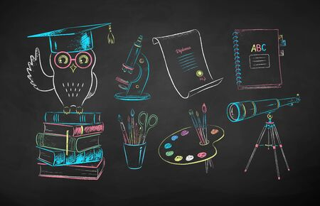 Vector color chalk drawn illustration set of education symbol objects on chalkboard background.