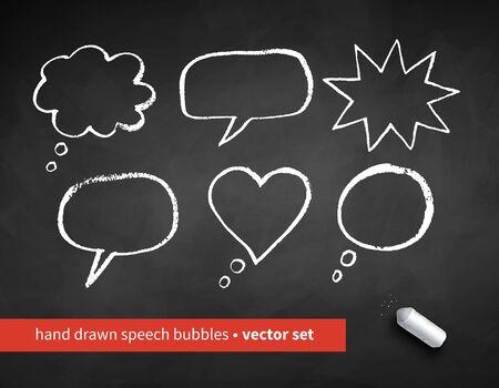 Vector set of grunge chalk drawn speech bubbles isolated on chalkboard background. Ilustração