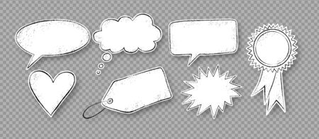 Vector set of grunge hand drawn speech bubbles stickers isolated on transparency background.