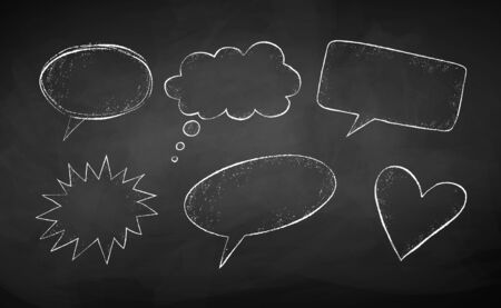 Vector set of line art grunge chalk drawn speech bubbles isolated on school board background.