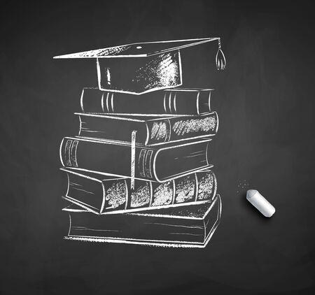 Pile of books and graduation hat Ilustración de vector
