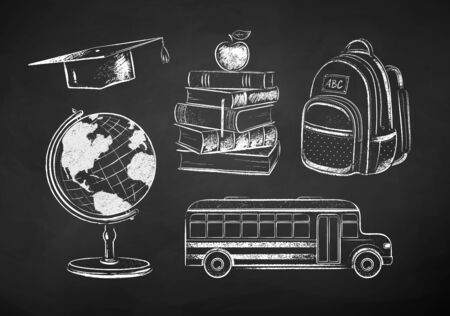 Chalk drawn collection of education items