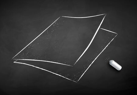 Vector chalk drawn illustration of sheets of paper on chalkboard background with piece of chalk.