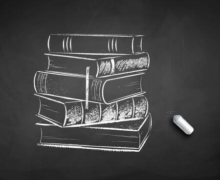 Chalk drawn illustration of pile of books