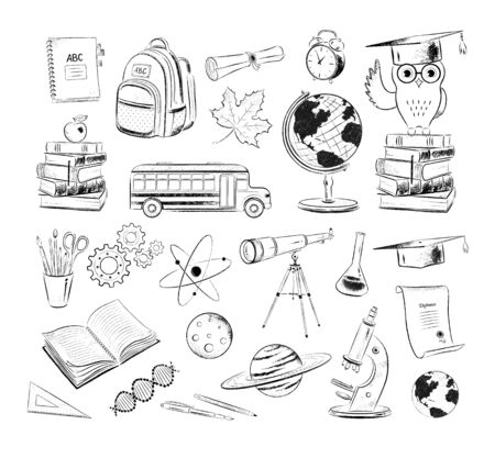 Vector set of education and science illustrations Illustration