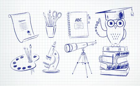 Pen drawing of education symbol objects