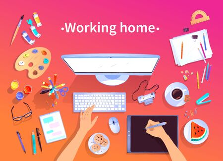 Working home vector top view illustration Ilustrace