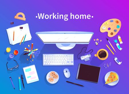 Working Home concept. Vector top view illustration of digital artist workplace with isolated objects on blue and violet gradient background. 向量圖像