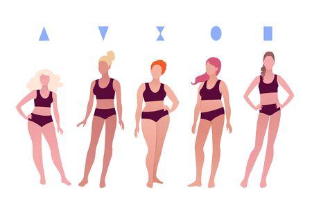 Different body positive female figures Ilustracje wektorowe